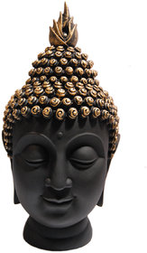 Buddha Head Figurine (10.5 Cm X 7 Cm X 13 Cm)- Black & Gold