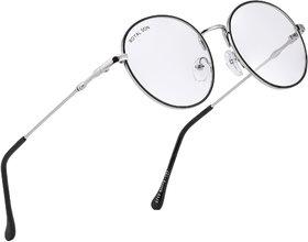 ROYAL SON Full Rim Metal Round Anti-Reflection Eyeglasses Frame - Silver