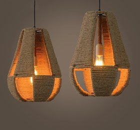 Pack of 2 Bamboo Brown hanging led lights by Astral