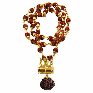 Only4you Metal Gold Trishul Pendent With Five Mukhi Rudraksha Beads