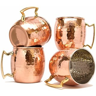 Copper Mug for Moscow Mules 560 ML/18 oz - Set of 4, Inside Nickle Hammered Best Quality