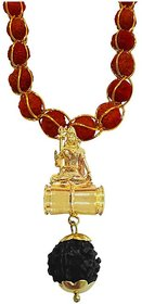 Men Style Lord Shiv Shakar Bholenath Gold Brown Brass Wood Locket With Rudraksha Mala