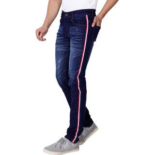 Ragzo Men`s Navy Blue Slim Fit Stretchable Jeans