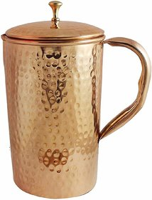 Pure Copper Water Jug Hammered Style Drinkware Pitcher (2 Litre)