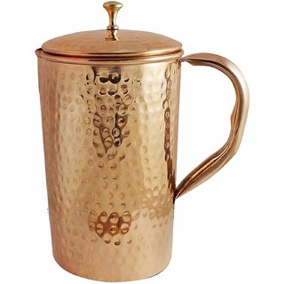 Pure Copper Water Jug Hammered Style Drinkware Pitcher  2 Litre