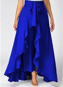 Trendey Tiska Royal Blue Ruffled Plazzo