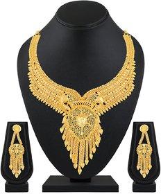 ASMITTA JEWELLERY One Gram Gold Plated Gold Choker Necklace Brass & Copper Set For Women