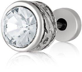 Asmitta Rhodium Plated Single Diamond Stud Earring For Men and Women