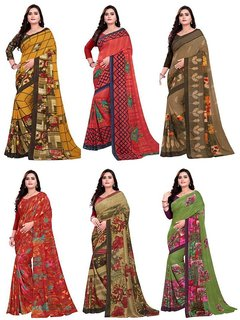 Anshu Fashion Women's Georgette Heavy Work Embroidery Saree with Blouse Piece