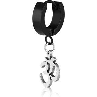Asmitta Om Charm Silver Plated Single Stud Earring For Men
