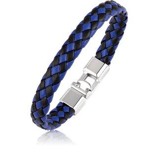 Asmitta Blue & Black Silver Plated Leather Bracelet For Men