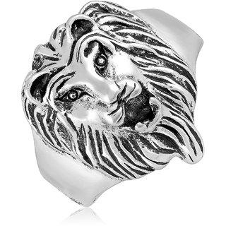 Asmitta Lion Shape Silver Plated Finger Ring For Men
