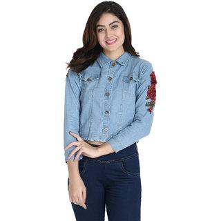 BuyNewTrend Light Blue Full Sleeve Rose Patch Denim Jacket For Women-(Light Blue-2154B)