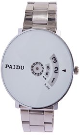 miss perfect Paidu 58897 White Dial Stainless Still Belt Analouge Watch For Boys And Girls Watch - For Men Watch - For M