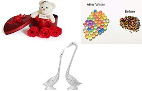 SC Valentine combo of kissing duck show piece and multicoloured orbeez water Jelly, Teddy Box