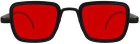 Kanny Devis Red Rectangular UV Protected Sunglasses For Men