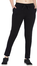 Haoser Black Cotton track pants for women Active sports wear lower for Women