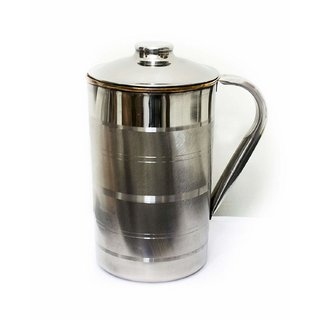 Handmade 1.6 Litre Copper Steel Water Jug Pitcher with Stainless Steel Outer and Inside Pure Copper