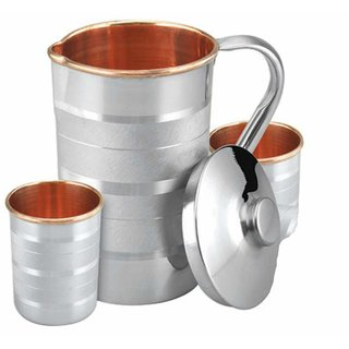 Handmade 1.6 Litre Pure Copper Steel JUG with 2 Copper Steel Glasses (300ml Each), 100 Leak Proof and Joint Free