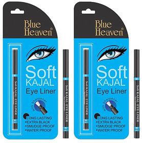 Set Of 2 Pc Blue Heaven Soft Kajal Eye Liner No Smudge Water Proof Long Lasting
