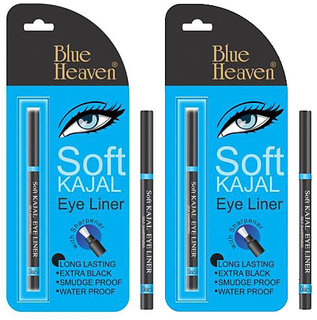 Set Of 2 Pc Blue Heaven Soft Kajal Eye Liner No Smudge Water Proof Long Lasting