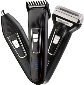 Rock Light Professional Shaver and 3 in 1 Beard, Nose and Ear Waterproof Trimmer Set for Men (Black)
