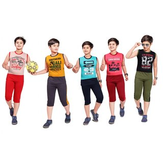 Kavin's 3/4th Pant with Sleeveless Tees for Kids, Pack of 5, Unisex, Multicolored