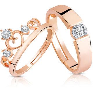 Asmitta Rose Gold Valentine American Diamond King Queen Crown Adjustable Couple Finger Ring