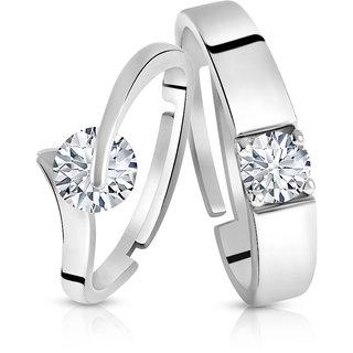 Asmitta Valentine Sterling Silver American Diamond Adjustable Couple Finger Ring