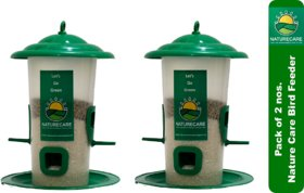 Nature Care Bird Feeder Hanging for All Types Birds (Transparent 9-Inch Height) - Pack of 2 NOS.