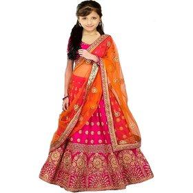 Femisha Creation Orange And Pink Taffeta Satin Embroidered Girl Party Wear Semi-Stitched Lehenga