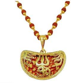 Men Style Religious Jewellery Om Trishul Ekmukhi Rudraksha Gold Brown Brass Wood Locket Mala