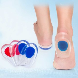 silicon Gel Heel Pad Protector Insole Cups For Heel Swelling Pain Relief Foot Care  Foot Care Pad (blue)