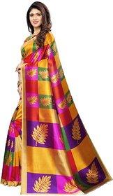 Sharda Creation Printed, Geometric Print Kanjivaram Poly Silk, Cotton Silk Saree  (Multicolor, Purple, Yellow)