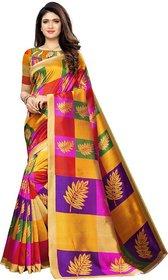SVB Sarees Printed, Geometric Print Kanjivaram Poly Silk, Cotton Silk Saree  Multicolor, Purple, Yellow