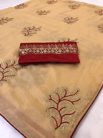 Saree For Woman Vichitra Silk With Embroidered Work