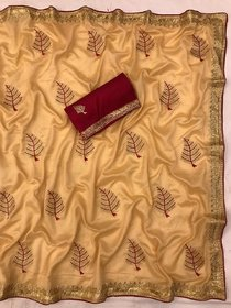 Saree For Woman Vichitra Silk With Beautifull Embroidered Work