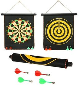 New Pinch Fordable Double Sided Magnet Dart Board Game with Non Pointed Darts, Size- 12 Inches
