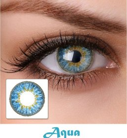 OLSA Aqua Blue  Monthly Disposable Color ZERO power Lenses with Liquid Solution and LENS Container