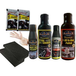 Amwax Car Bike Care Kit (Tyre Shiner 120Ml+All In One Polish 120Ml+Scratch Remover 50Ml+Wash Wax 50Ml..........