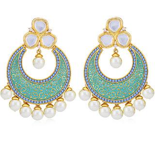 Sukkhi Classic Pearl Gold Plated Kundan Mint Collection Chandbali Earring for Women