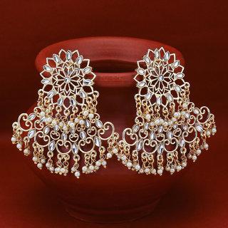 Sukkhi Sparkling Pearl Gold Plated Kundan Chandelier Earring for Women