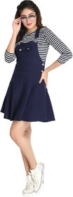 BuyNewTrend Navy Blue Cotton Lycra Pocket Patch Dungaree Skirt with Striped Top For Women-(Navy Blue-2330B)