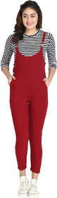 BuyNewTrend Maroon Cotton Lycra Dungaree Pant with Striped Top For Women-(Maroon-2053B)