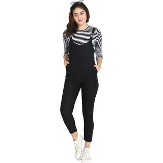 BuyNewTrend Black Cotton Lycra Dungaree Pant with Striped Top For Women-(Black-2055B)