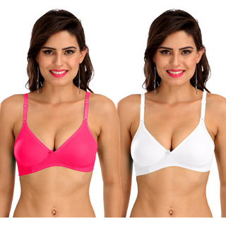 Sona Women's M1001 Everyday Non Padded with Free Transparent Straps Bra Multi Color Pack of 2