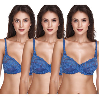 Sona Salsa Women'S T-Shirt Full Coverage Lace Non-Padded Underwired Bra For Women Pack of 3