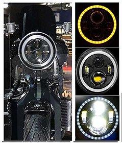 Bullet Headlight / Thar Headlight Full Ring DRL White Orange 7 inch Headlight For Bullet Bike / RE All Bikes / Thar
