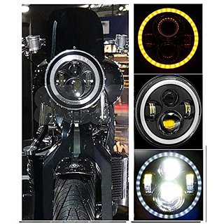 Bullet Headlight / Thar Headlight Full Ring DRL White Orange 7 inch Headlight For Bullet Bike / RE All Bikes / Thar