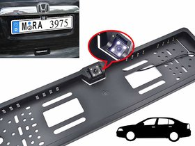 Car Number Plate LED Night Vision Camera With Number Plate Frame For Reverse Parking and Rear View - Universal For All C